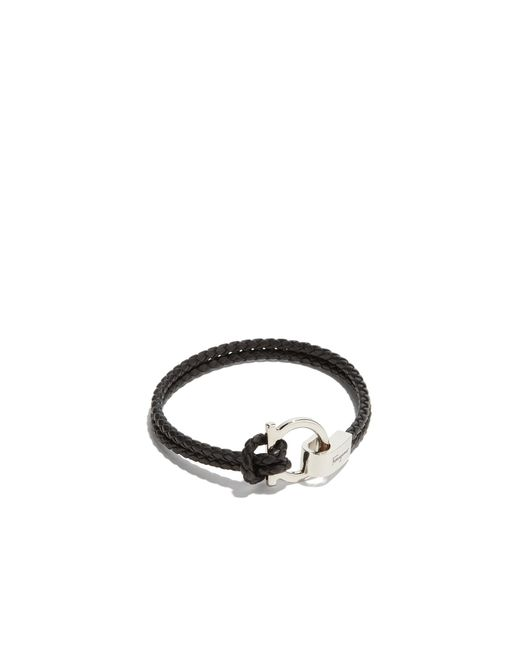 Ferragamo - Black Double Woven Bracelet With Gancini Hook Closure for Men - Lyst