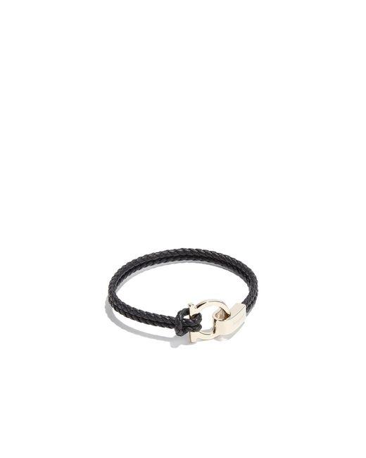 Ferragamo - Black Gancio Braid Bracelet - Lyst