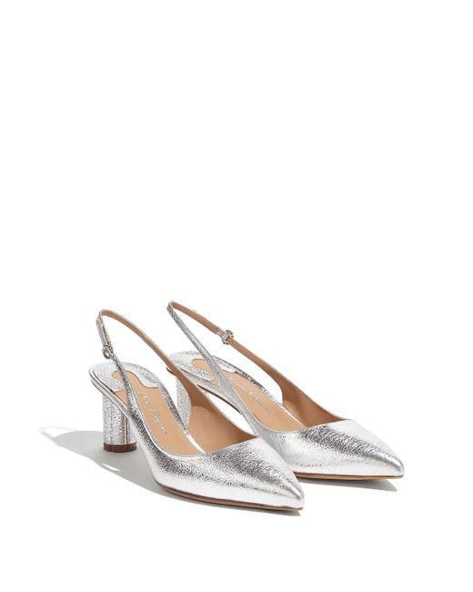 Ferragamo - Metallic Flower Heel Sling Back Pump Shoe - Lyst