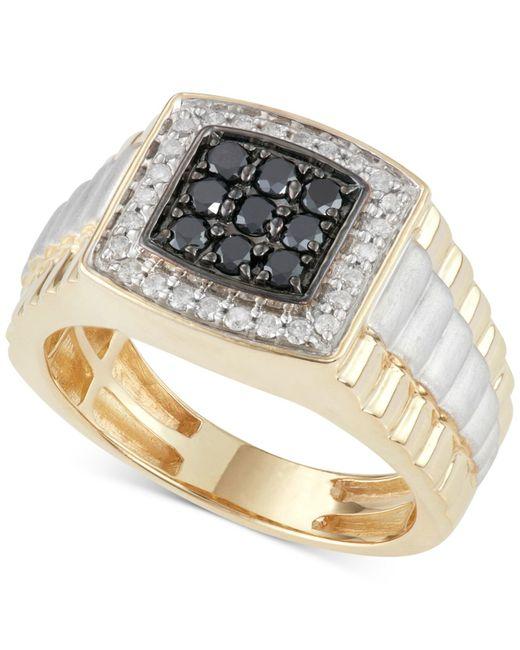 Macy's Men's Diamond And Black Diamond Ring (3/4 Ct. T.w