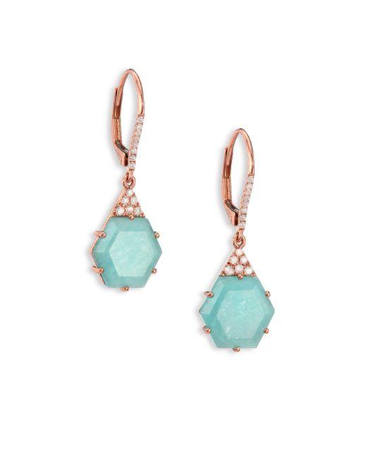 Meira T | Green Blue Amazonite, Diamond & 14k Rose Gold Hexagon Drop Earrings | Lyst