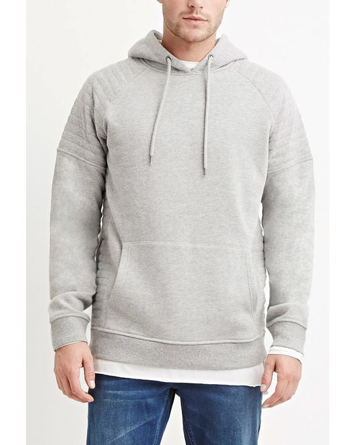 Forever 21 | Gray Quilted Cotton-blend Hoodie for Men | Lyst