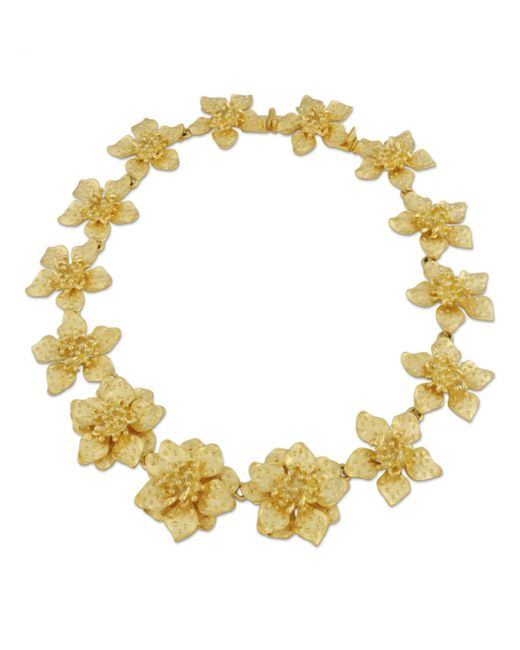 Kenneth Jay Lane | Metallic Satin Gold Dogwood Flower Necklace | Lyst
