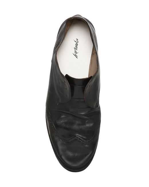 mars 232 ll wrinkled leather brogue shoes in black for lyst