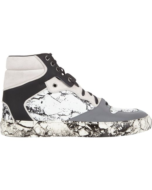 Balenciaga Marble Print High Top Sneakers White Size 8 In