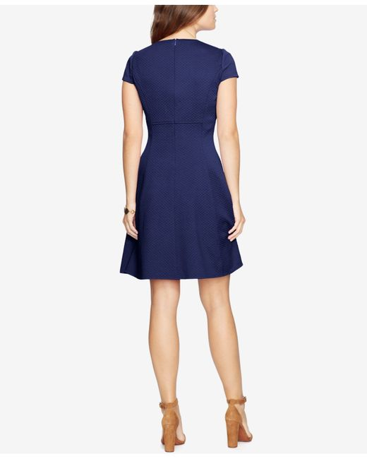 American Living Jacquard Fit Flare Dress In Blue Navy