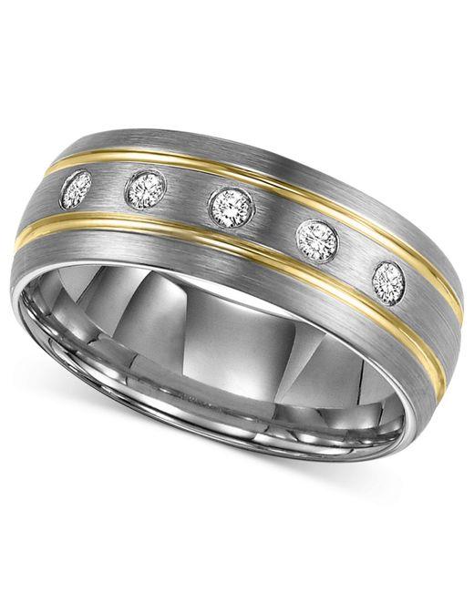 Triton Wedding Band Tungsten Carbide Black Ceramic 8mm: Triton Men's Diamond Stripe Wedding Band In Tungsten