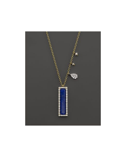 Meira T | Blue 14k Yellow Gold Lapis Pendant Necklace With Diamonds, 16"