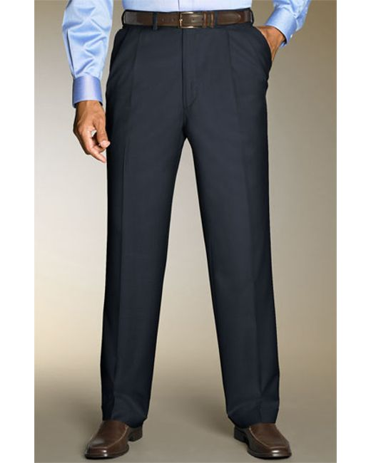 Santorelli | Blue 'luxury Serge' Double Pleated Wool Trousers for Men | Lyst