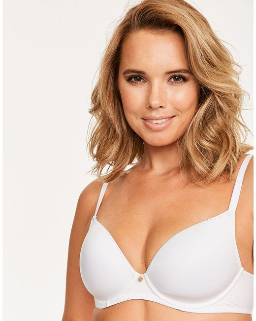 88be4f09b1 ... Figleaves - White Smoothing Plunge Bra A-h Cup - Lyst ...