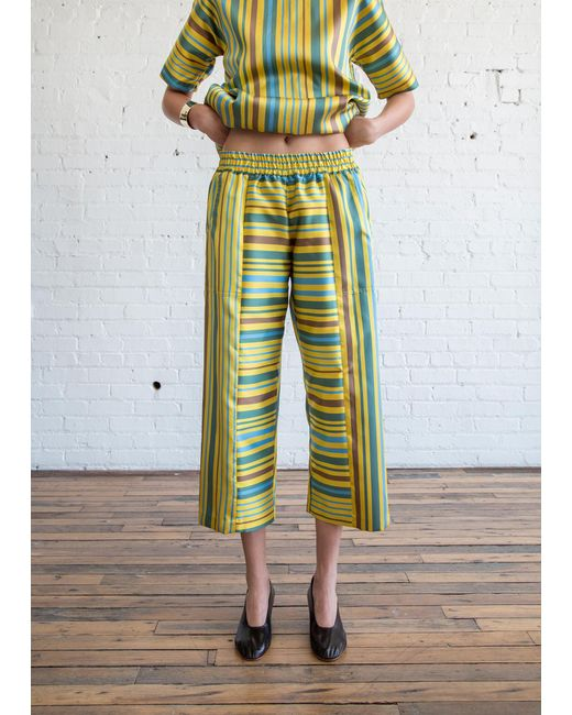 Nikki Chasin   Patch Elastic Waist Pant Yellow Multi   Lyst