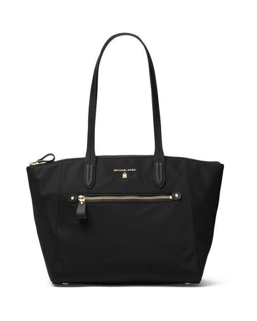 MICHAEL Michael Kors Black Nylon Kelsey Medium Top Zip Tote Bag