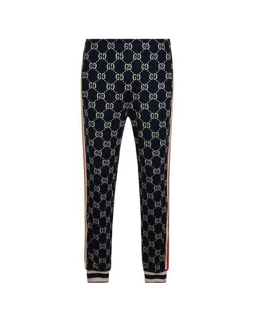 Gucci Blue Gg Supreme Cotton Jacquard Sweatpants for men