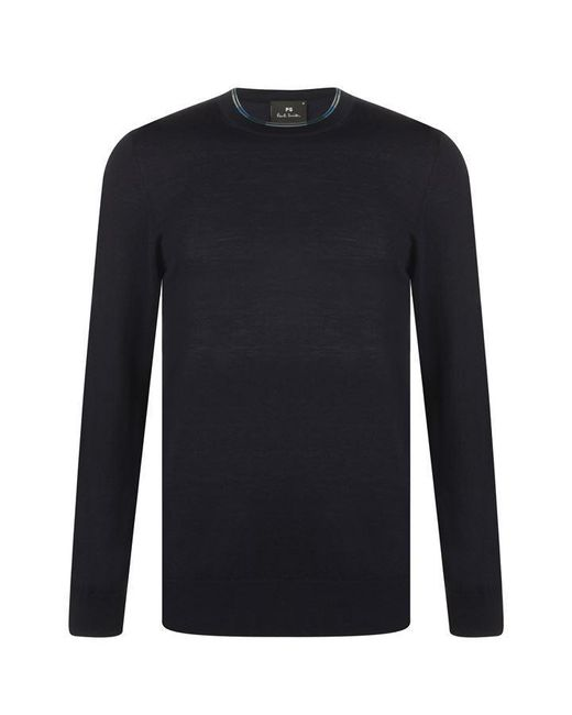 PS by Paul Smith Blue Paul Neck Detail Knitted Jumper Mens for men