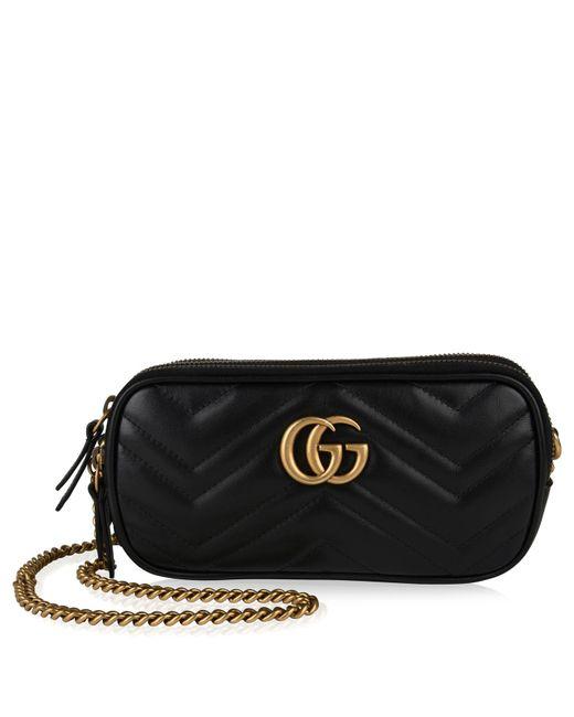 d09852591647 Gucci - Black Gg Marmont Mini Cross Body Bag - Lyst ...