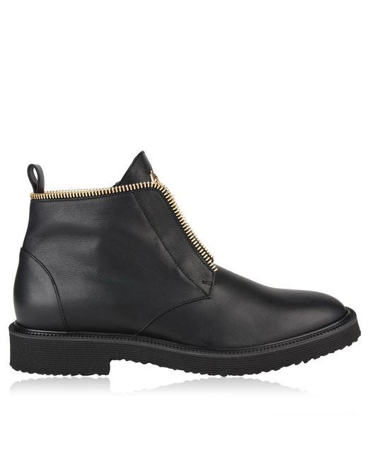 Giuseppe Zanotti - Black Tyson Leather Lace Up Boots for Men - Lyst