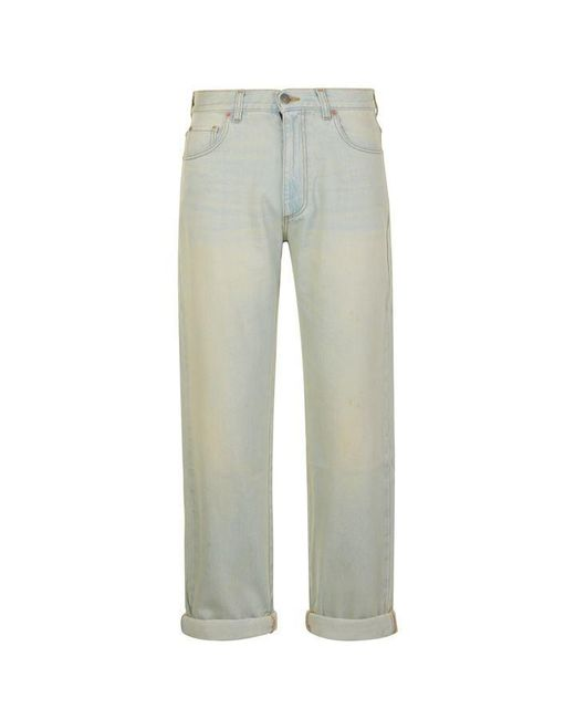 Gucci Blue Rear Print Distressed Jeans for men
