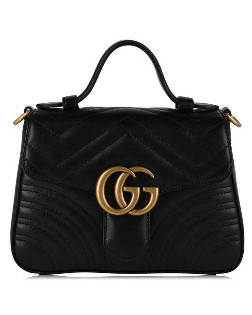 ae04c4a0558 Gucci - Black Mini Gg Marmont Top Handle Bag - Lyst ...