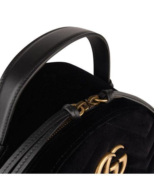 fca218ba845 Lyst - Gucci Velvet Marmont Backpack in Black - Save 21%