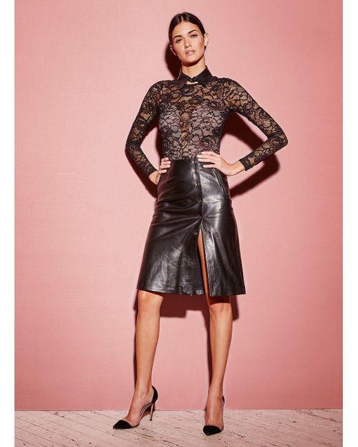 Fleur du Mal - Black Leather A-line Skirt - Lyst