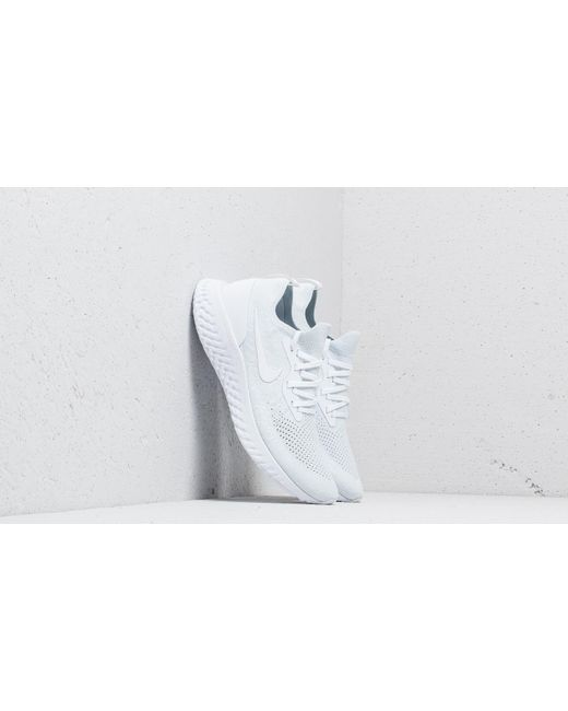 f2cbef60a9aac Nike - Epic React Flyknit True White  White-pure Platinum for Men - Lyst ...
