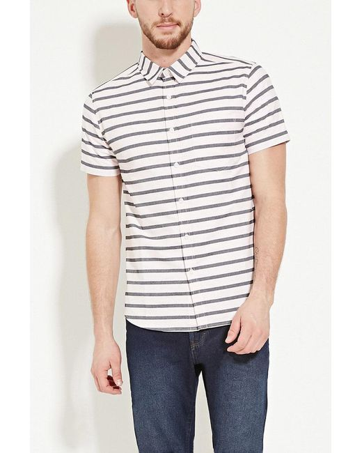 Forever 21 | Pink Stripe Buttoned Shirt for Men | Lyst