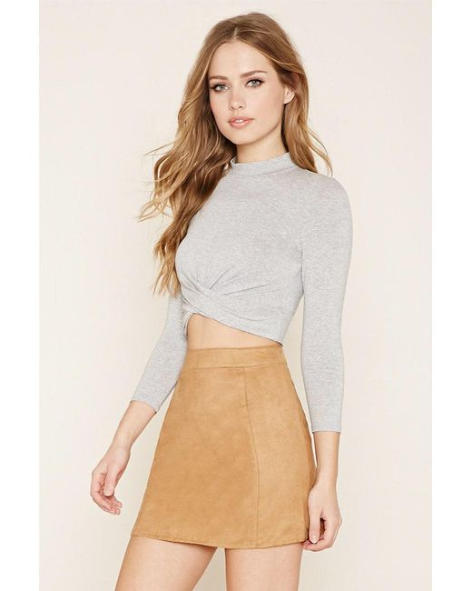 Forever 21   Gray Mock Neck Twisted Crop Top   Lyst