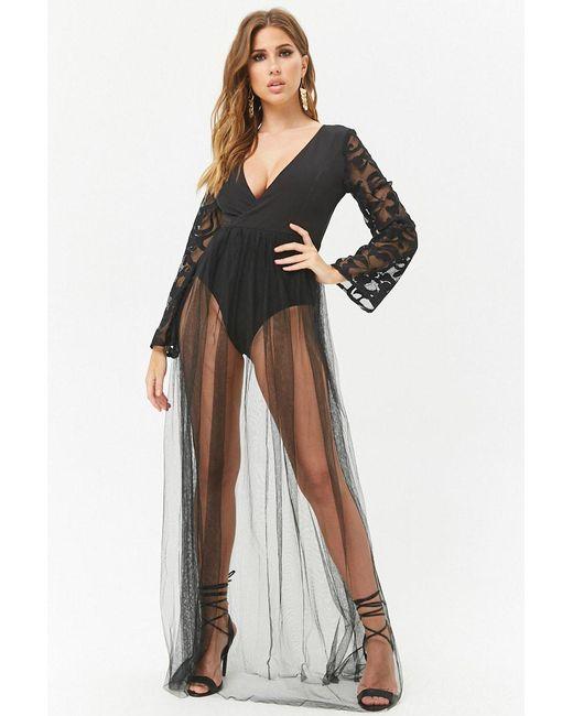 Forever 21 - Black Mesh Surplice Maxi Dress - Lyst