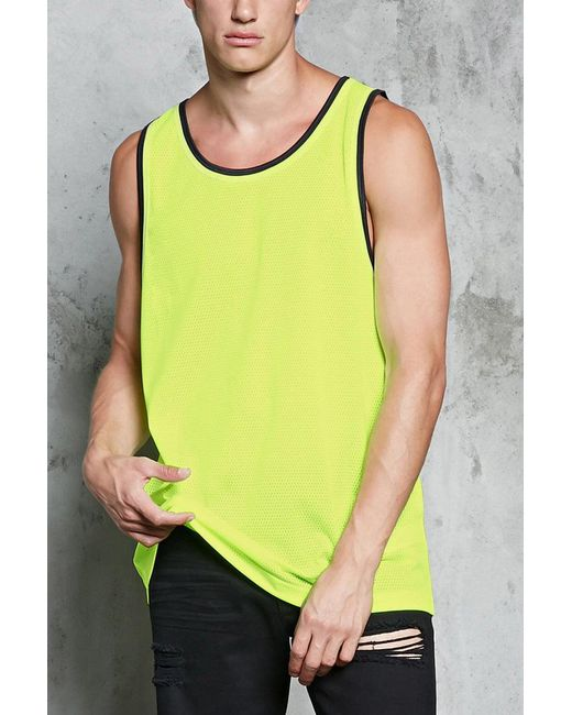 Forever 21 - Yellow Striped-trim Mesh Tank Top for Men - Lyst