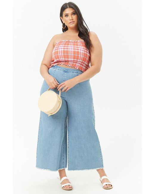 2900f902d68db4 ... Forever 21 - Multicolor Women s Plus Size Check Tube Top - Lyst