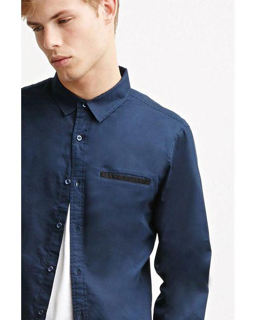 Forever 21   Blue Contrast-trimmed Oxford Shirt for Men   Lyst