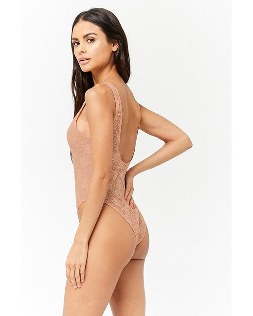 88b7fc3b7d9785 ... Forever 21 - Natural Sheer Lace Bodysuit - Lyst