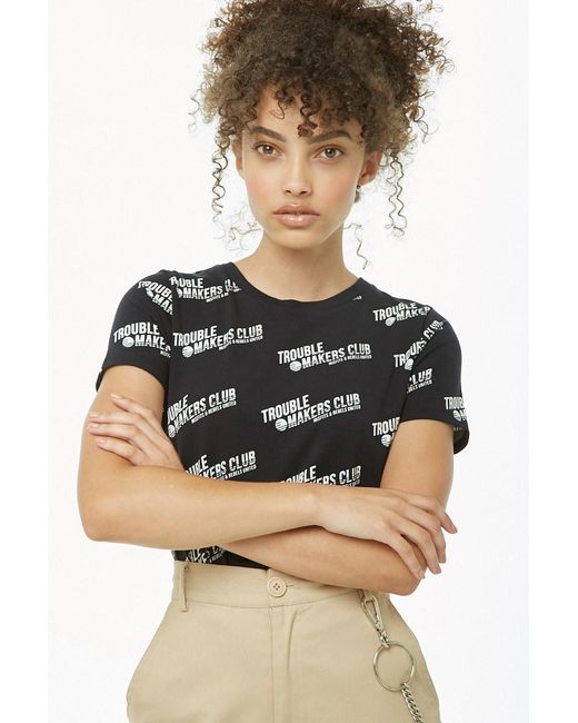 Forever 21 Trouble Makers Club Graphic Tee , Black/white