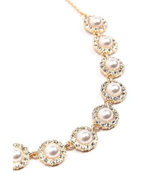 Forever 21 - Metallic Faux Pearl & Rhinestone Statement Necklace - Lyst