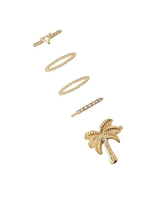 Forever 21 | Metallic Palm Tree Ring Set | Lyst
