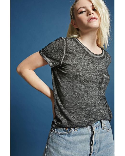 Forever 21 | Black Mineral Wash Tee | Lyst