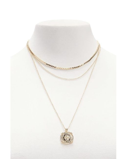 Forever 21 | Metallic Layered Pendant Necklace Set | Lyst