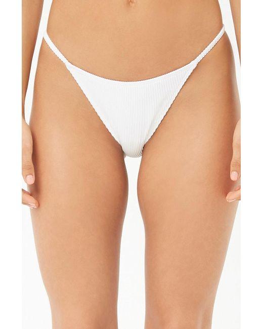 fd5ce785e5ab2 ... Forever 21 - White Low-rise Ribbed Bikini Bottoms - Lyst