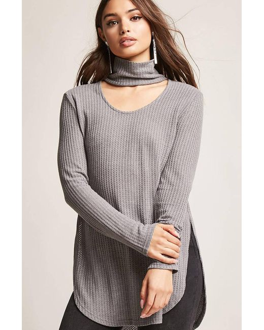Lyst Forever 21 Cutout Honeycomb Knit Top In Gray