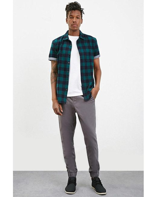 Forever 21 - Gray Chino Drawstring Joggers for Men - Lyst