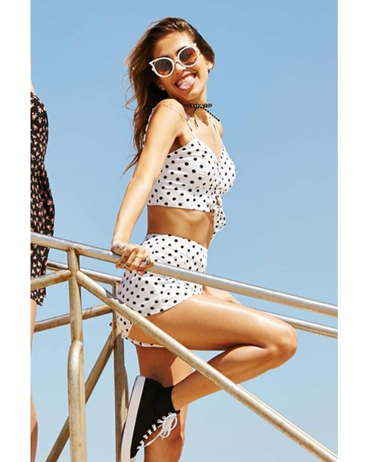 Forever 21 | White Polka Dot Lace-up Cropped Cami | Lyst