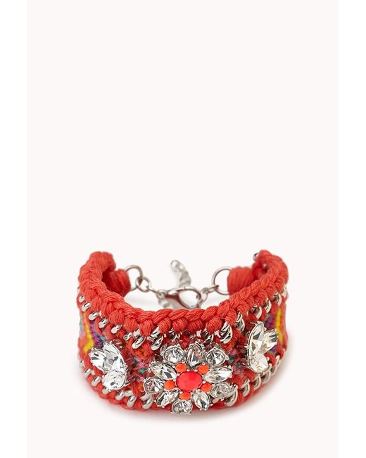 Forever 21   Pink Kitschy-chic Woven Bracelet   Lyst