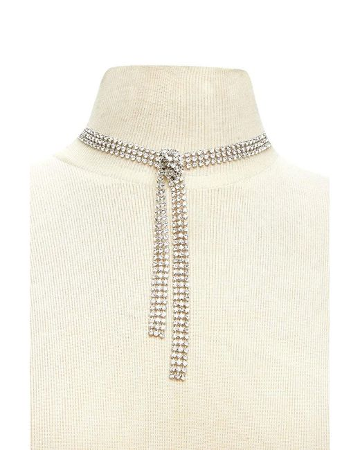 Forever 21   Natural Knotted Rhinestone Drop Choker   Lyst