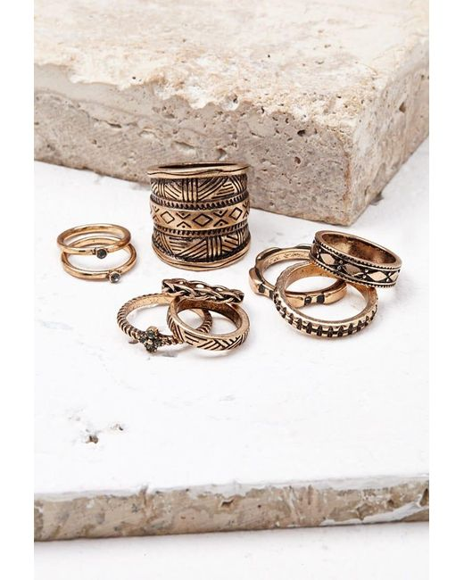 Forever 21 | Metallic Etched Midi Ring Set | Lyst