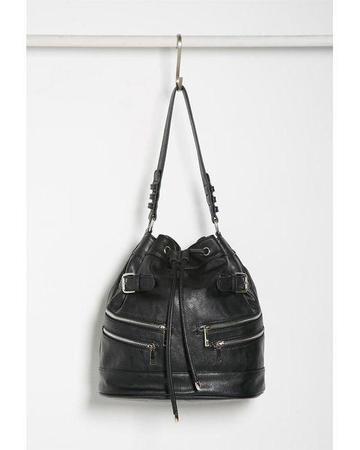 Forever 21 | Black Zippered Bucket Shoulder Bag | Lyst