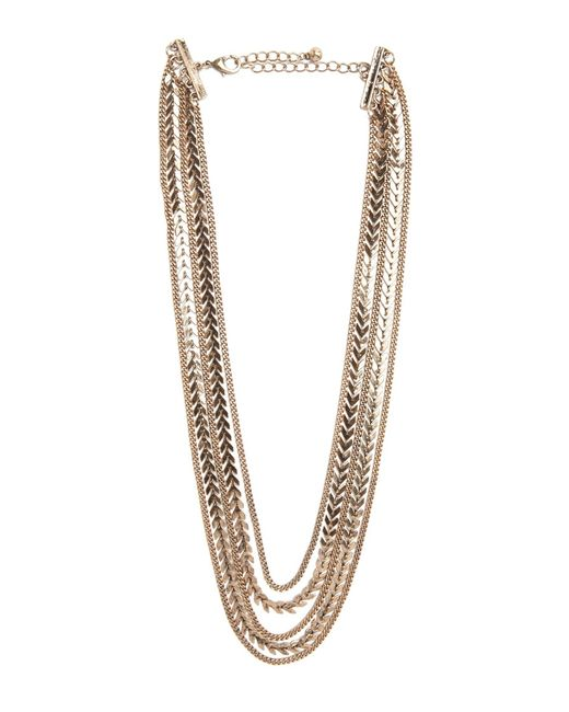 Forever 21 | Metallic Chevron Charm Layered Necklace | Lyst