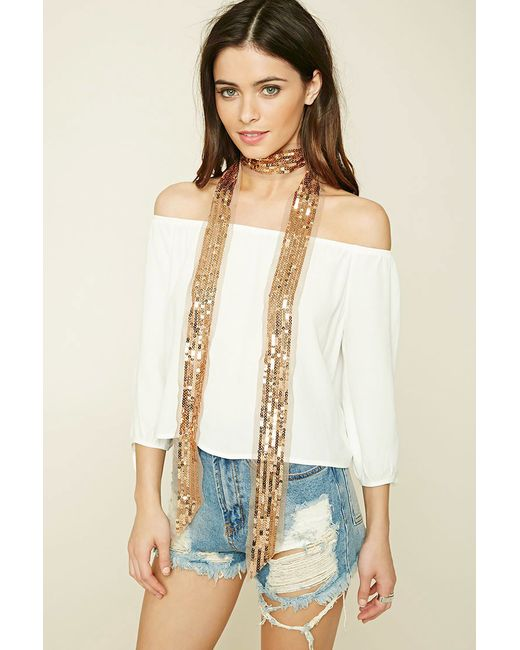 Forever 21 | Metallic Sequin Oblong Scarf | Lyst