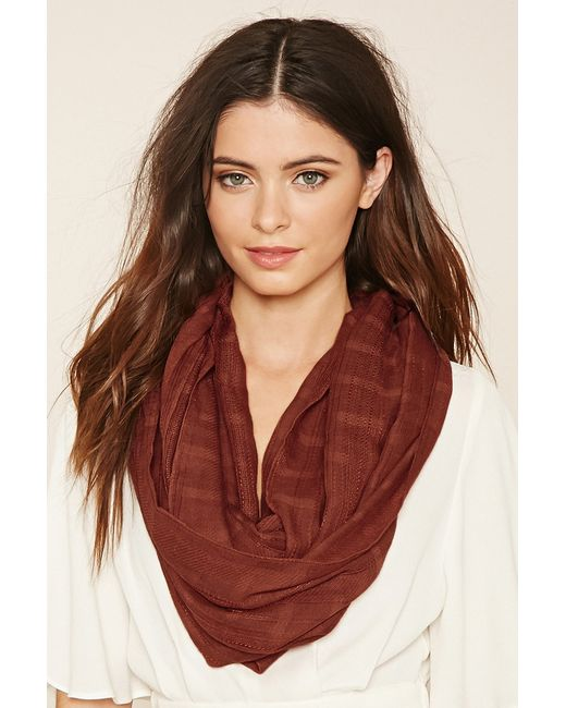 Forever 21 | Red Woven Infinity Scarf | Lyst