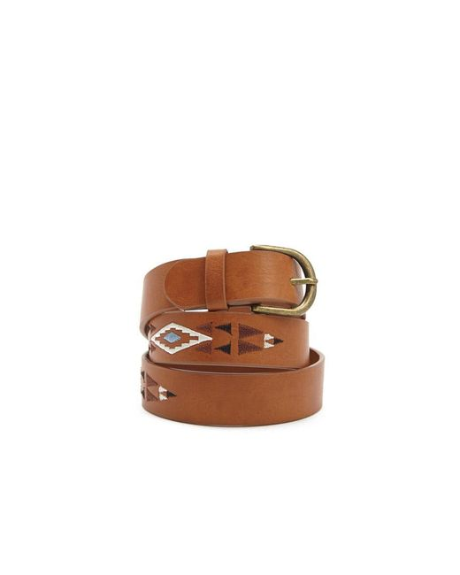 Forever 21 - Brown Embroidered Faux Leather Belt - Lyst