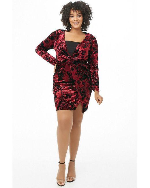 8076612866607 ... Forever 21 - Red Plus Size Floral Crushed Velvet Mini Dress - Lyst
